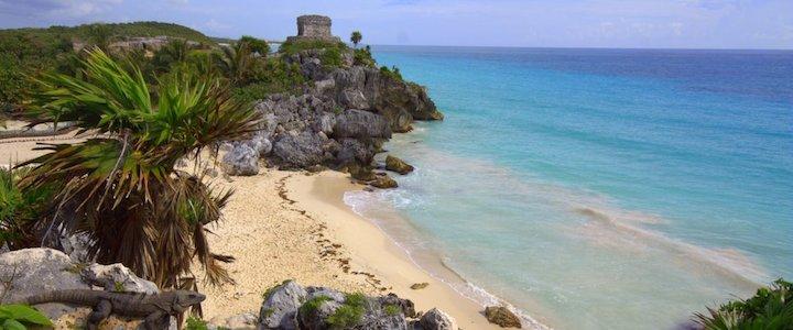 site maya et plage à tulum au Mexique, yucatan